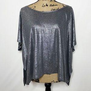 Eileen Fisher Silver Metallic Flowy Top